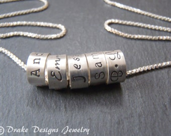 Mom necklace with kids names Hand stamped with Custom names sterling silver mothers jewelry