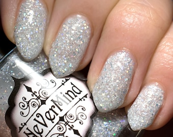 Moonstone - White Holo Glitter Nail Polish - Silver Holographic Glitter Nail Lacquer - All That Glitters