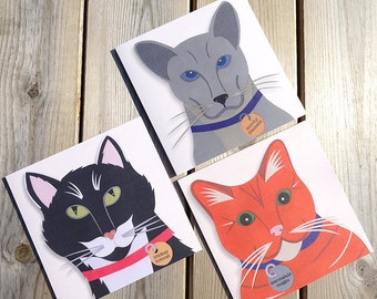 Cat Note Cards, Cat Cards, Cat Illustrations, Cat Greeting Cards, Gift For Cat Lover, Crazy Cat Lady Gift Idea