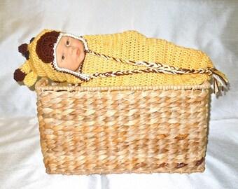 Crochet Baby Cocoon, Hat Set, Newborn, Giraffe, Yellow, Off White, Brown Baby Shower,