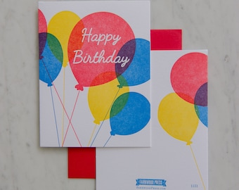Happy Birthday Colorful Balloons Letterpress Card