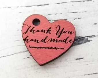 "CUSTOM TINY [ 1"" inch] Engraved Wood Tags Heart Thank You Handmade Website | Drop Dangle Findings Embellishments Drop Charm"