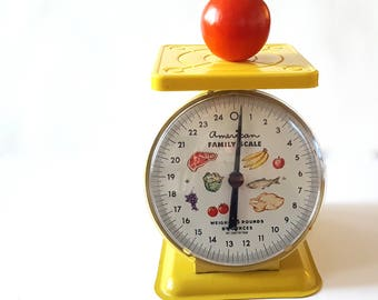 Vintage Yellow Kitchen Food Scale, by American Family Chicago,    Retro Farmhouse Country Kitchen Decor