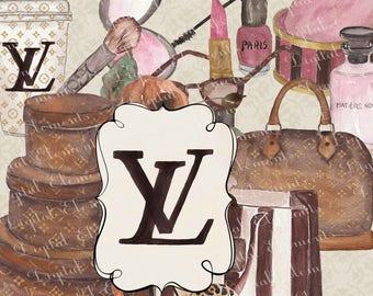 Watercolor Fashion Clipart, Watercolor Louis Vuitton Clip Art, Louis Vuitton Hat box, Louis Vuitton Purse, Watercolor Fashions. No. E39