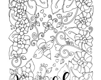 Bee True, 1 Adult Coloring Book Page, Printable Instant Download