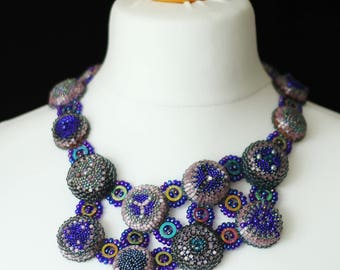 Blue statement necklace / Geoemtric unique necklace / Luxury artisan necklace / Formal occasion jewelry collar necklace / Bead work collier