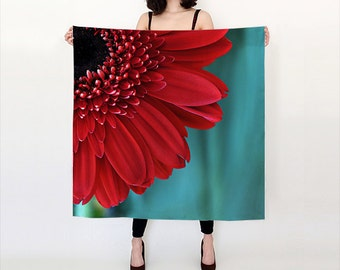 Red Flower Women's Scarf, Red and Teal Floral Delicate Scarf, Nature Photo scarf, Elegant Red and Teal Wedding shawl, Gift for Women