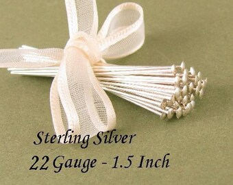 Sterling Silver Headpins 22 Gauge -  1.5 Inch -  25 Jewlery Beading Head Pins - Oakhill Silver Supply  HP19