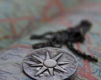 Bon Voyage: hammered traveler's compass or sundial - necklace