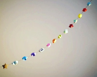100 Origami Lucky Stars, Garland Available in 100 or 50