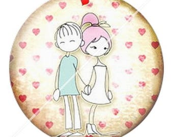 resin cabochon mounted on a stick 25 mm love couple Valentine's day 1