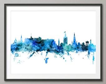 Edinburgh Skyline, Edinburgh Scotland Cityscape Art Print (3098)