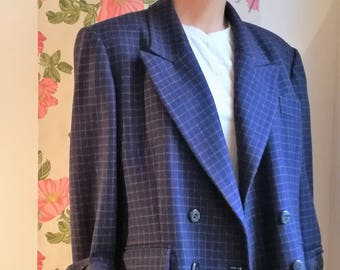 Colette - Vintage double breasted wool jacket Plaid