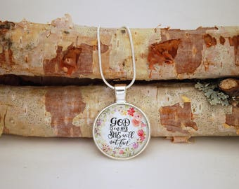 God is in her she will not fail, Silver Small Pendant Necklace
