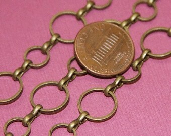 10 ft of Antiqued brass circle links chain 8mm-12mm (Lead safe- NIckel safe)