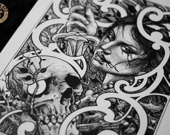 "Tatttoo Print - ""Skull & Princess"" by Mariusz Romanowicz / art print,dark art,dark,gothic art,skull art,horror art"