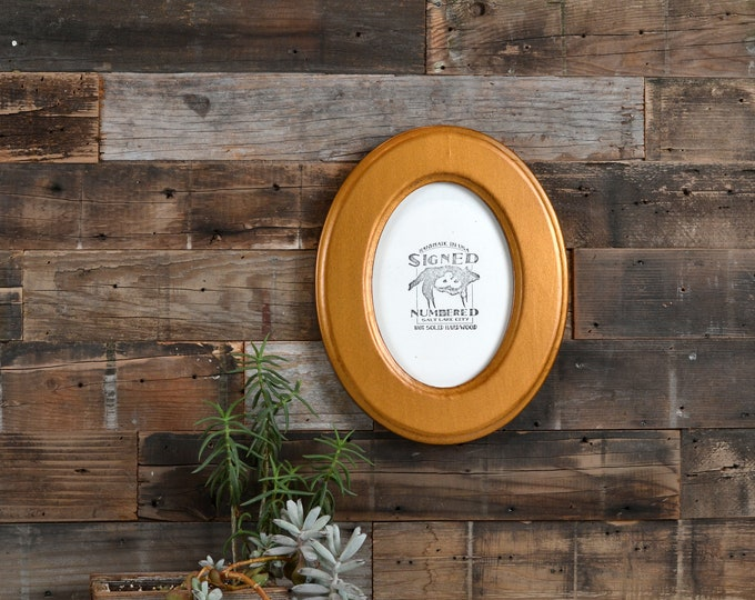 5x7 Oval Opening Picture Frame Oval Shaped Outside with Classic Roman Gold Finish - Solid Poplar Wood 5 x 7 - IN STOCK Same Day Shipping