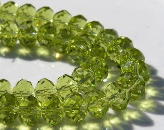 Olivine Sparkly 12mm Faceted Crystal Rondelle Beads   8
