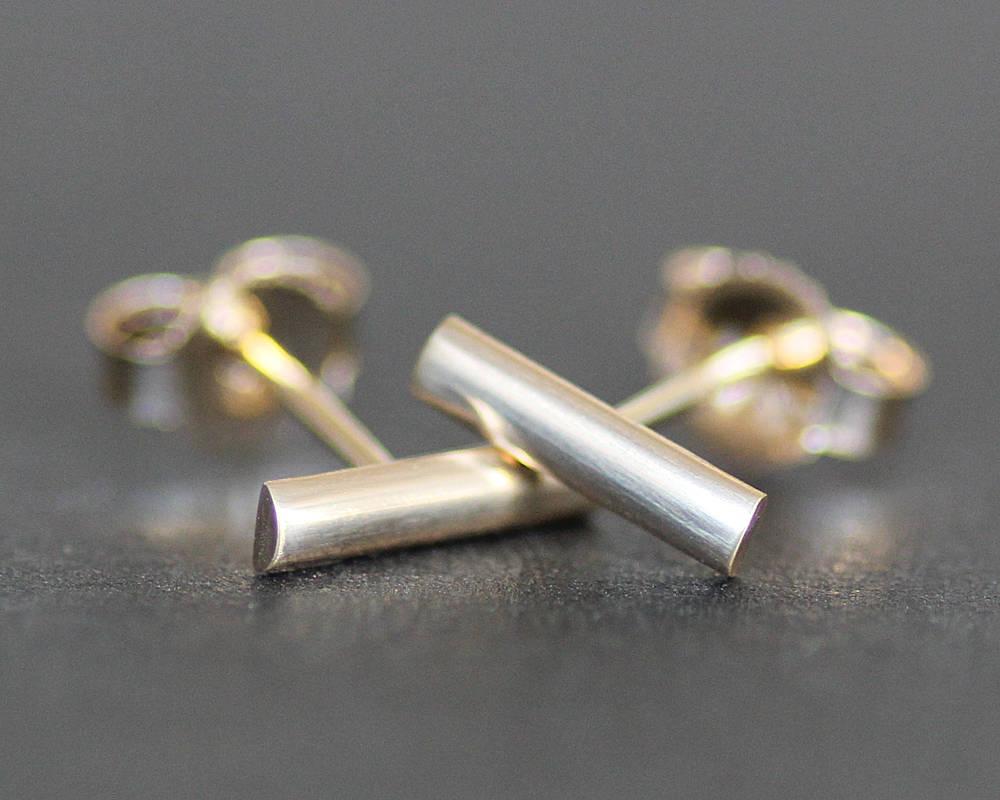 14K Yellow Gold Bar Earrings 8mm Post /Stud Earrings Solid