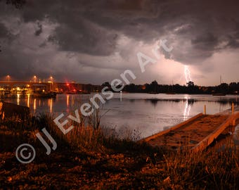 8x10 Print of Lightning Over the Sturgeon Bay Bay View Bridge