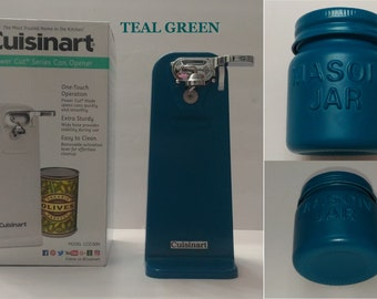 Teal Cuisinart Electric Tall Can Opener , Teal Kitchen Aid, Vintage Mini Mason Jar