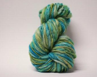 Merino Thick n Thin Yarn Hand Spun Bulky Self-striping Wool Slub  Hand Dyed tts(tm) BFLS16001x