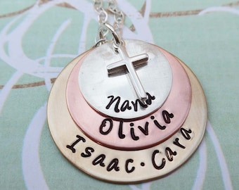 Nana Necklace with Cross - Grandma Nonna Grammy Mom - Personalized Names - S218