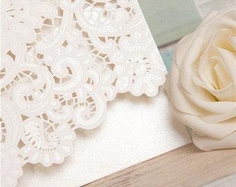 Beautiful Ornate Lace Laser Cut Invitations - DEPOSIT