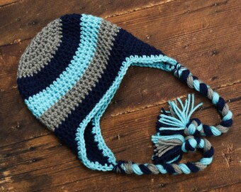 little boy hat crochet boy hat striped hat baby boy hat newborn hat newborn photo prop toddler hat earflap hat ,l0