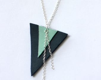 Silver triangle geometric Necklace blue gray leather