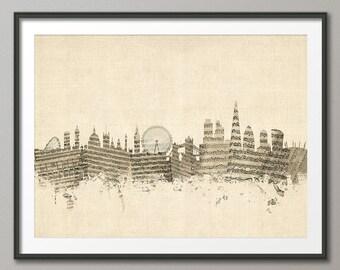 London Skyline, Sheet Music London Cityscape, Art Print (1375)
