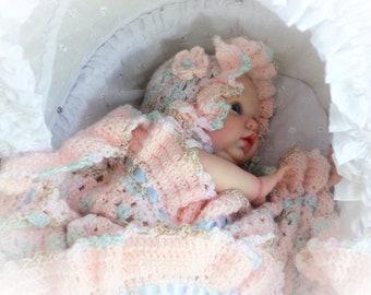 GRANNY Crochet Baby Blanket Crochet STROLLER Blanket Crochet Baby Afghan PINK Granny Baby Afghan Ruffled Baby Blanket Ruffled Baby Afghan