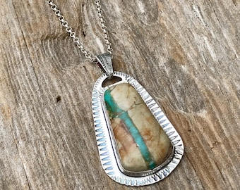 Handcrafted Southwestern Royston Ribbon Turquoise in Sterling Statement Pendant