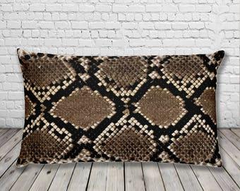 Snake skin Pattern Print | Rectangular Throw Pillow Cushion | No Texture | vegan