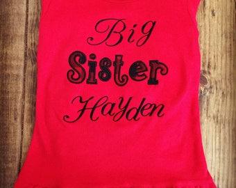 Girls applique big sister shirt