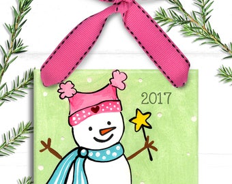 Christmas Ornaments Personalized - Pink Snowgirl Ornament - Big Sister Ornament - Family Ornament - Personalized Ornaments for Girls