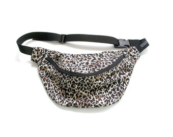 Fannypack bumbag animal print ykk zip. fully lined fanny pack with key ring tab fanny pack bum bag hip sac