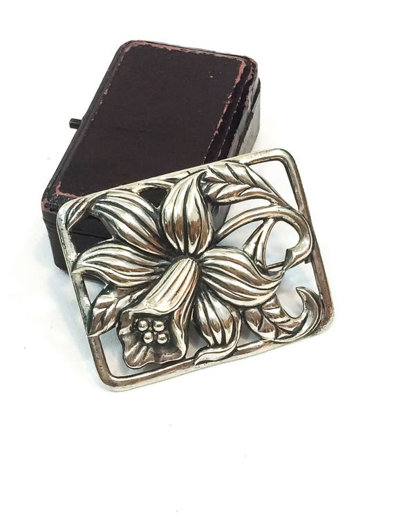 Sterling Silver Daffodil Flower Brooch, Art Nouveau Repousse Narcissus Pin, Nature Woodland Jewelry, 1950s Vintage Danecraft Jewelry