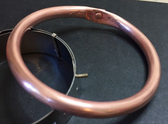 Riveted Copper Tube Bracelet Bangle #queenebead