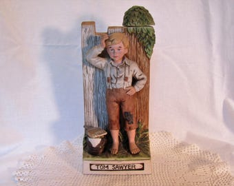 Tom Sawyer McCormick Whiskey Decanter 1970's Literary Series Hand Painted