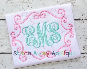 Fancy Swirls Monogram Frame Machine Embroidery Design