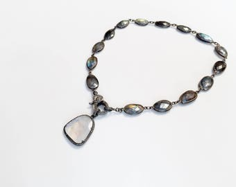Moonstone Pavé Diamond Pendant and Labradorite Gemstone Necklace