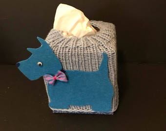 Tissue box cover, blue Scotty