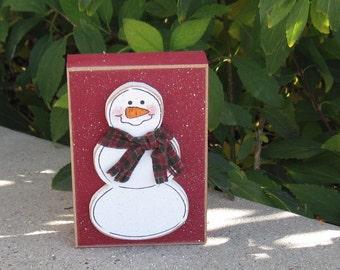 RED SNOWMAN BLOCK for Christmas, Winter, Noel, shelf, desk, office, mantle and home decor