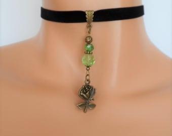 black velvet choker, rose choker, rose necklace, stretch ribbon, antique bronze, green beads