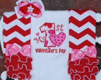 My 1st Valentine's Day Bodysuit Leg Warmer Complete Outfit! Baby/Toddler Hearts applique top, leg warmers and bow! First Valentine's Day