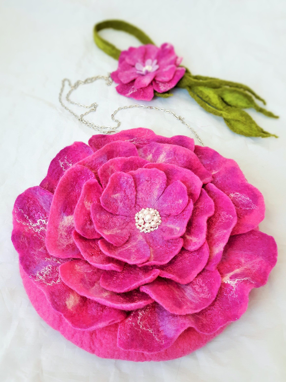 Wool Felted Set Scarf Brooch Wool Felted Bag Pink Flower