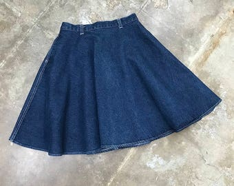 Vintage Honors High Waisted Denim Circle Skirt | extra small | 24 | 25