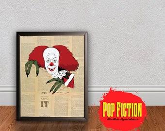 Pennywise It Print or Original Canvas Original Artwork. Comics, Book, Collectible. Digital Mix-Media Art. Pop Culture.