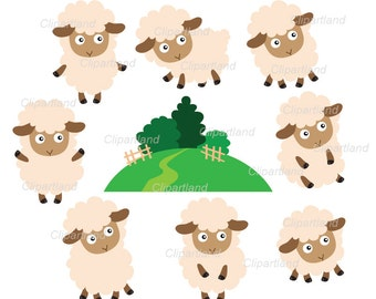 ON SALE INSTANT Download. Sheep clip art. Csh_6. Personal and commercial use.